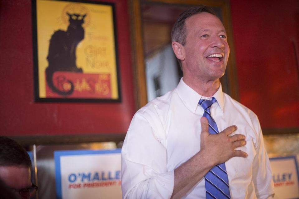Martin O'Malley spoke to a crowded room of supporters at an Iowa pub.